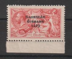 Irlande 1922  5s Rouge Surchargé 38 ** MNH - 1922-37 État Libre D'Irlande