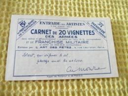 Carnet 20 Vignettes Entraide Française FM Des Armées Bel état Sans Charnières Complet - Markenheftchen