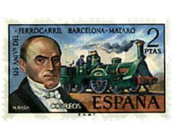 Ref. 84878 * MNH * - SPAIN. 1974. 125th ANNIVERSARY OF THE BARCELONA-MATARO RAILWAY . 125 ANIVERSARIO FERROCARRIL BARCEL - Treni