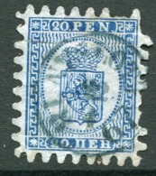 FINLAND 1866 20 P.. Deep Blue/blue Roulette III, Used. Michel 8 Cx - 1856-1917 Russian Government