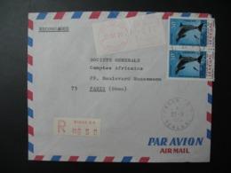 Sénégal  Lettre Recommandée N° 650 -  1970    Agence Dakar   Pour La Sté Générale En France  Bd Haussmann Paris - Sénégal (1960-...)