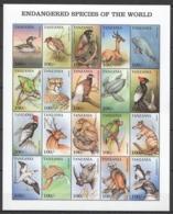 O1163 TANZANIA FAUNA ANIMALS BIRDS MARINE LIFE ENDANGERED SPECIES !! 1 BIG SH MNH - Stamps