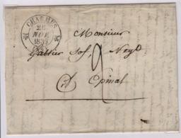 CHARMES (Vosges) 26 Novembre 1839, Tàd 12 + Taxe Manuscrite 2 Décimes, Pour Epinal - Marcophilie (Lettres)