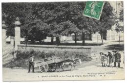 33-SAINT-LOUBES-La Place De L'Eglise Saint-Pierre...1909  Animé  Attelage... - France