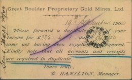 """1900, 1/2 D Swan Stationery Card Uprated From KALGOORLIE With Reverse Printing """"Great Boulder Propriety Gold Mines Ltd."""" - Mineralien"""