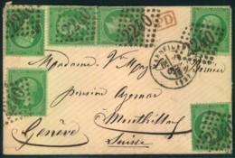 """1870, Kleiner Brief Mit 6-mal 5 Ct. Napoleon Grün Entwetet Mit """"224ß"""" Grand Chiffre Ab Marseille Nach Genf - France"""