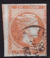 GREECE 1867-69 Large Hermes Head Cleaned Plates Issue 10 L Orange In CN Vl. 38 - Gebruikt