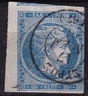 GREECE 1867-69 Large Hermes Head Cleaned Plates Issue 20 L Blue Vl. 39 - Gebruikt