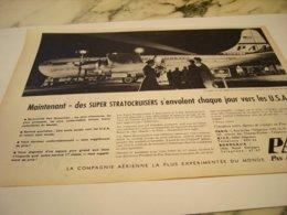 ANCIENNE PUBLICITE PAN AMERICAN DES SUPER STRATOCUISERS  1955 - Affiches