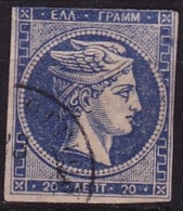 GREECE 1875-80 Large Hermes Head On Cream Paper 20 L Blue Vl. 65 - Gebruikt