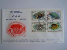 België Belgium 1968 FDC Zoo Anwerpen Anvers Vissen Poissons Cob 1470-1473 - FDC