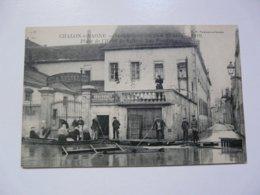 CPA 71 SAONE ET LOIRE - CHALON SUR SAONE : Inondations De 1910 - Place De L'Hôtel De Ville Et Rue Fructidor - Chalon Sur Saone