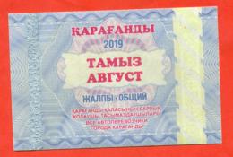 Kazakhstan 2019. City Karaganda. August Is A General Ticket - A Monthly Bus.  Plastic. - Season Ticket