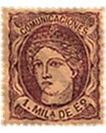Ref. 265700 * HINGED * - SPAIN. 1870. SPAIN ALLEGORIC IMAGE . EFIGIE ALEGORICA DE ESPAÑA - 1868-70 Gobierno Provisional