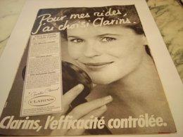 ANCIENNE PUBLICITE EFFICACITE CONTROLEE  CREME CLARINS 1976 - Perfume & Beauty