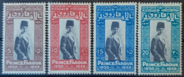 EGYPT 1929 - MLH - Sc# 155, 156, 157, 158 - Complete Set - Prince Farouk - Egipto
