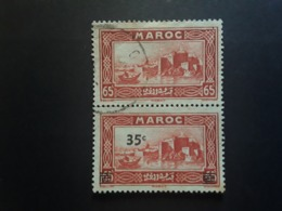 MAROC 1939 , Yvert No 161 A, PAIRE Du 35 C S 65 C Rouge Brun Dont 1 Timbre SANS SURCHARGE,  Obl TB - Used Stamps