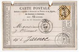 CP Précurseur De Nancy Pour Jarnac-16 --Cérès N°55-- GC  2598 + Cachet NANCY-54-cachet JARNAC-16 + Cachet Ambulant - 1849-1876: Période Classique