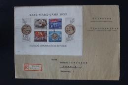 DDR Einschreiben Brief Karl Marx Block 9   Gnolen -> Demmin - Blocks & Kleinbögen