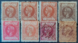 CUBA 1898 - MLH/canceled - Sc# 156, 158, 160, 163, 165, 168, 170, 171 - Cuba (1874-1898)