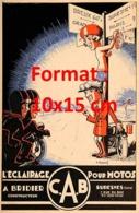 Reproduction D'une Photographieancienne D'une Affiche Publicitaire L'éclairage Pour Motos C.A.B De 1925 - Riproduzioni