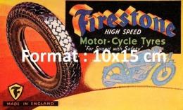 Reproduction D'une Photographieancienne D'une Affiche Publicitaire Pneu Firestone High Speed Motor Cycle Tyres De 1920 - Riproduzioni