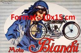 Reproduction D'une Photographieancienne D'une Affiche Publicitaire Moto Bianchi De 1920 - Reproductions