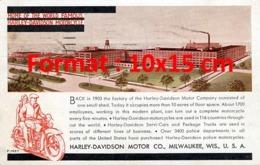 Reproduction D'une Photographieancienne D'une Affiche Publicitaire Home Of The World Famous Harley-Davidson Motorcycle - Riproduzioni