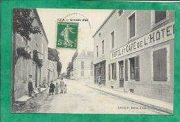 """Lux (21) Grande Rue 2scans Carte Animée """"Hôtel Et Café De L'Hôtel"""" """"épicerie Mercerie"""" - Autres Communes"""