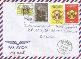 Togo 1996 Sokode G-2 Charles De Gaulle Kennedy Elysee Elephant Official Cover - De Gaulle (Général)