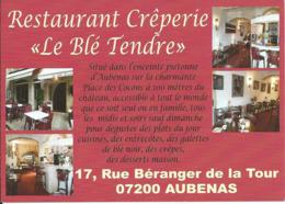 """Carte Pub Restaurant Crêperie """" Le Blé Tendre """", AUBENAS (07) - Hotels & Restaurants"""