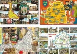 Lot De 4 Cartes Contours Géographiques Département  INDRE, MEURTHE & MOSELLE - Carte Geografiche