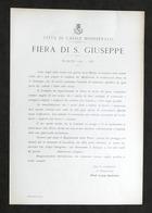 Città Di Casale Monferrato - Fiera Di S. Giuseppe - Regolamento - Marzo 1937 - Libri, Riviste, Fumetti