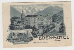BB376 - SUISSE - INTERLAKEN - Eden Hotel - A. BURGI - Propr - BE Bern