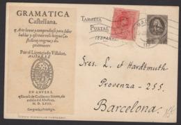 """SIMILI Entier Carte Commerciale """"GRMATICA CASTELLANA"""" + 10c Type Medallon Oblt MADRID P BARCELONA - Entiers Postaux"""