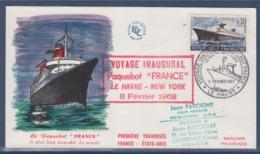 = Paquebot France Voyage Inaugural Le Havre New-York 3.2.62 N°1325 Compagnie Générale Transatlantique Enveloppe - Boten