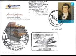 AANT-257 ANTARCTICA 2004 ARGENTINA  40° ANIV AIR BRIDGE FOKKER F-27  HERCULES C-130 MARAMBIO STATION-RIO GALLEGOS COVER - Voli Polari