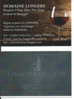 2 X Carte De Visite BEAUJOLAIS: Domaine Longère LE PERREON / Château Moulin Favre St ETIENNE La VARENNE (69) - Cartes De Visite