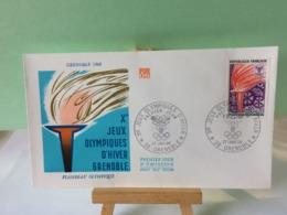 Flambeau Olympique - 38 Grenoble - 27.1.1968 FDC 1er Jour Coté 1,50€ (Jeux Olympique D'Hiver 1968) - 1960-1969