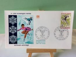 Patinage Artistique - 38 Grenoble - 27.1.1968 FDC 1er Jour Coté 1,50€ (Jeux Olympique D'Hiver 1968) - 1960-1969