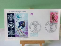 Slalom Et La Descente - 38 Grenoble - 27.1.1968 FDC 1er Jour Coté 1,50€ (Jeux Olympique D'Hiver 1968) - 1960-1969