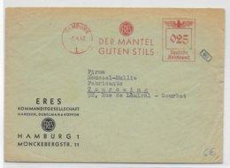 REICH - 1943 - EMA (DER MANTEL GUTEN STILS) Sur LETTRE De HAMBURG => TOURCOING Avec CENSURE AU DOS - Marcofilia - EMA ( Maquina De Huellas A Franquear)