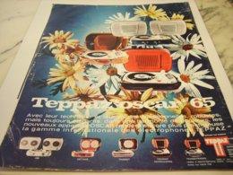 ANCIENNE PUBLICITE ELECTROPHONE TEPPAZ OSCAR  1965 - Publicités