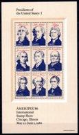 USA 1986 R MNH Sheet I Presidents Of The United States Washington Adams Jefferson Monroe Harrison Jackson Van Buren - Famous People