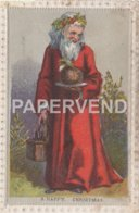 Greeting Card Father Christmas With A Plum Pudding Egc751 - Old Paper