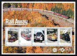 Trein, Train, Locomotive, Eisenbahn Nederland  2019  Rail Away,  Sheet, 5 Stamps, - Treinen