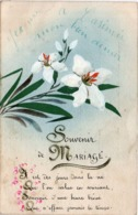 CPA Peinte A La Main - Fleurs - Souvenir De Mariage - Jeanne A Casimir  (116529) - Fantaisies