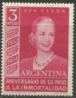 Argentina - 1954 Eva Peron 3p MNH *   Sc 626 - Unused Stamps
