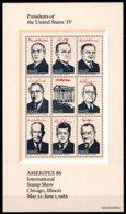 USA 1986 R MNH Sheet IV Presidents Of The United States Kennedy Eisenhower Johnson Roosevelt Coolidge Hoover Truman - Famous People
