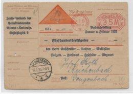 REICH - 1923 - EMA  Sur CARTE CONTRE REMBOURSEMENT NACHNAHME De KARLSRUHE => GENGENBACH - Marcofilia - EMA ( Maquina De Huellas A Franquear)